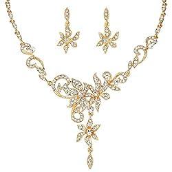 Gold-Tone Austrian Crystal Floral Vine Leaf Necklace Earrings Set
