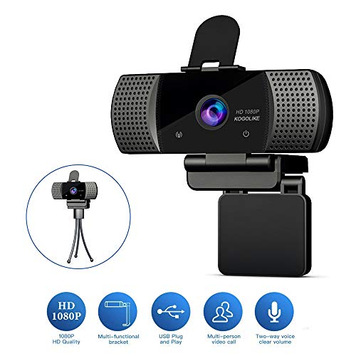 KOGOLIKE Webcam PC Full HD 1080P con Micrófono, USB 2.0 Cámara Web, con Webcam Cover Y trípode para Portátil Videollamadas, Estudios, Conferencias, Grabación, Juegos con Clip Giratorio, Plug and Play