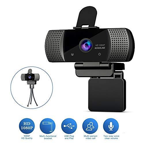 KOGOLIKE Webcam per PC Full HD 1080P con Microfono, con Webcam Cover E treppiede, Videocamera per Videochiamate, Studio, Conferenza, Registrazione, Gi