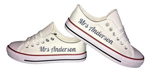 Zapatillas de boda personalizables – Zapatos de novia con estampado de purpurina personalizado para mujer, zapatillas de lona para novia, zapatos de novia, color Dorado, talla 41 EU