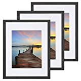 Sindcom 11x14 Picture Frame 3 Pack, with Detachable Mat for 8x10 Pictures, Wall Mounting Charcoal Gray Photo Frame, Pre-Installed Hanging Hooks for Portrait or Landscape Mode