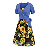 Aniywn Women's Short Sleeve Adjustable Strappy Summer Beach Swing Dress Cocktail Party Evening Swing Dress Sundress Blue