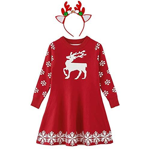 Kinder Mädchen Weihnachten Strickkleid mit Rentier Haarreif Stirnband Weihnachtspullover Prinzessin Kleid Christmas Partykleid Winterkleider Xmas...