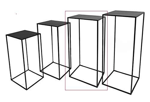Hoher Beistelltisch schwarz Metall Telefontisch Pflanzentisch Blumentisch Tisch (28 x 28 x 70 cm)