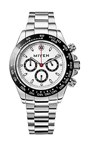 MIYEN MUNICH Voyager Herren Uhr - Chronograph mit Miyota Quarz Präzisionslaufwerk Saphirglas & Tachymeter Funktion – Silber Uhr Herren