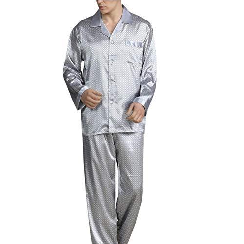 SGJKG Herren Frühling Langarm Revers Dünne Lose Pyjamas Für Gedruckte Briefe Nachtwäsche Homewear Anzug -L