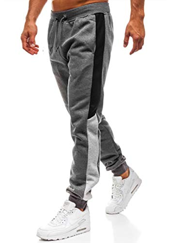Lantch Herren Hosen Hose Sporthose Trainingshose Cargo Pants Jogginghose Sweatpants Jogger Mode Freizeit Laufen Streifen, XXL, Dunkelgrau