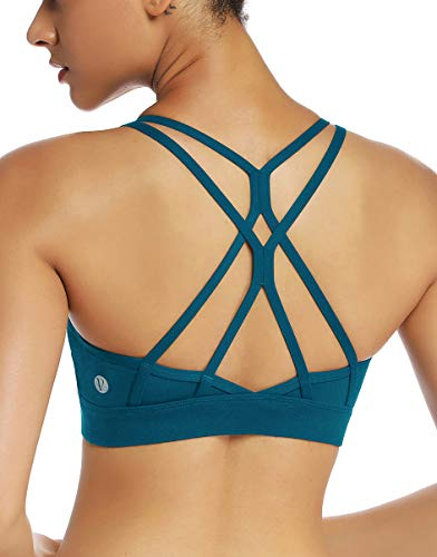 RUNNING GIRL Strappy Sports Bra for Women Sexy Crisscross Back Light Support Yoga Bra with Removable Cups (WX2310,Teal, XXL)