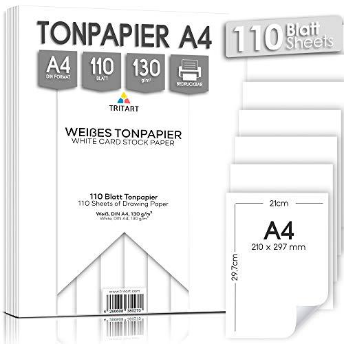 Tritart - Tonpapier Weiß A4 130g /m² I 110 Blatt festes Bastelpapier HOCHWERTIG I stabiles kreativ Zeichenpapier zum Basteln und Malen I Fester Zeichenkarton I DIY Tonzeichenpapier Weiß