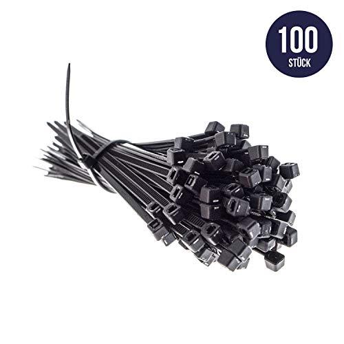 Premium Kabelbinder in Schwarz (100 Stück, 100mm x 2,5mm), UV- Hitze- und Kältebeständig, Extra Stark, Geprüfte Qualität