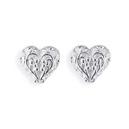 Drachenfels Kleine Herz Ohrstecker in Echtsilber   Kollektion Arsen & Spitzenhäubchen   Herz-Ohrringe aus 925 Sterlingsilber für Damen   D AS 23/AG