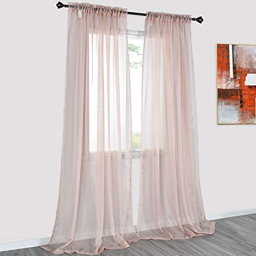 DONREN 2 Panels Solid Color Blush Pink Sheer Curtains Elegant Rod Pocket Window Voile Panels Drapes for Bedroom Living Room (52X95 Inches)