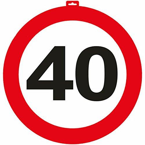 Carpeta® - Riesen Verkehrsschild * Zahl 40 * ┃ Ø 47,5cm ┃ Deko 40. Geburtstag ┃ Türschild und Straßenschild ┃ Mit & ohne Aufhänger ✔