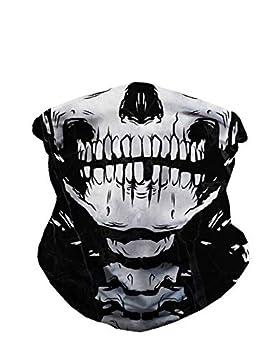 Skeleton X-Ray Skull Face Gaiter Neck Mask for Men & Women - Skull Gator Mouth Covering Cool Costume Bandana Balaclava iHeartRaves