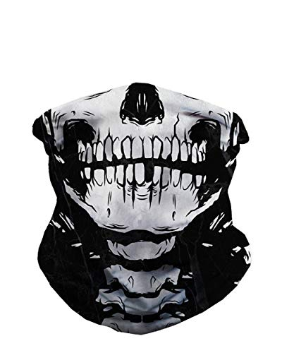 Skeleton X-Ray Skull Face Gaiter Neck Mask for Men & Women - Skull Gator Mouth Covering Cool Costume Bandana Balaclava iHeartRaves