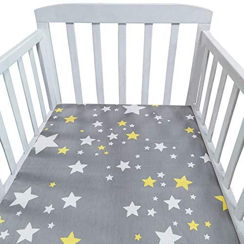 Baby Spannbetttuch, 2 Pack Matratzenschoner Spannbettlaken, 70x140cm 100% Baumwolle Spannbetttuch Atmungsaktiv Bettlaken Baby Bettwäsche, für Beistellbett und Wiege