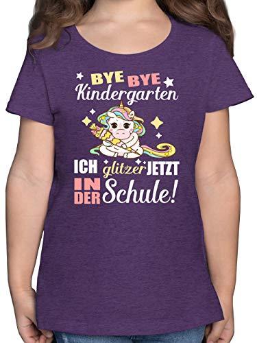 Einschulung und Schulanfang - Ich Glitzer jetzt in der Schule Einhorn mit Schultüte - 140 (9/11 Jahre) - Lila Meliert - F131K - Mädchen Kinder T-Shirt