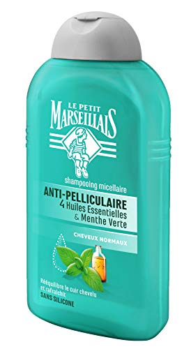 Le Petit Marseillais Anti-Schuppen Shampoo Normal, 4 ätherische Öle, Mintgrün, 250 ml, 3 Stück