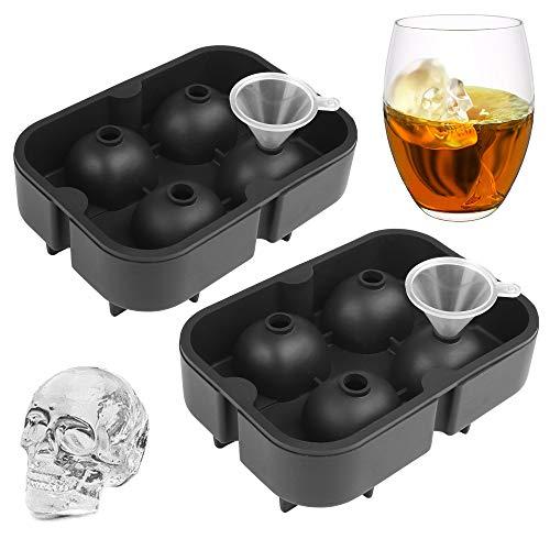 Skull Ice Cube Mold (Set of 2) Skulls Molds Silicone,Skull Molds for Baking,Sugar Skull Mold Pan,Halloween Weird Stuff,Reusable and BPA Free