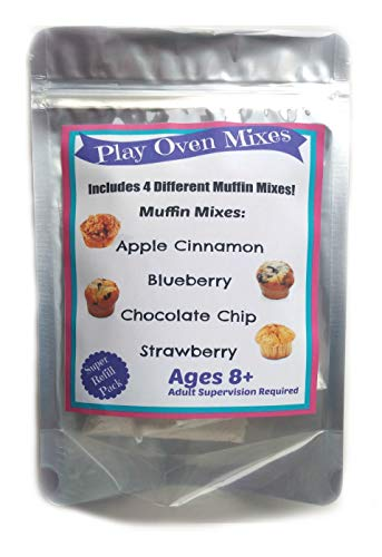 Children's Easy to Bake Oven Mixes Play Toy Real 4 Muffin Super Pack Refill Kit Apple Cinnamon Blueberry Chocolate Chip Strawberry Ultimate Set Cooking Baking Supplies Net Wt 4.0 oz