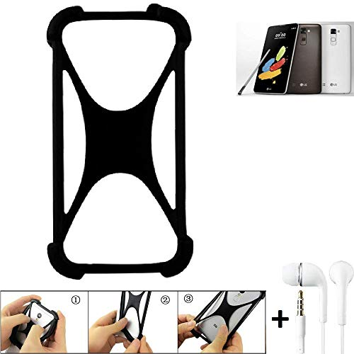 K-S-Trade® Handyhülle Für LG Stylus 2 DAB+ Schutzhülle Bumper Silikon Schutz Hülle Cover Case Silikoncase Silikonbumper TPU Softcase Smartphone, Schwarz (1x), Headphones