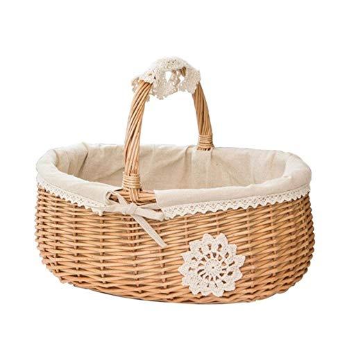 FICI rieten opbergdoos rotan mand picknick mand bloem manden met deksel en handvat en witte liner voor camping