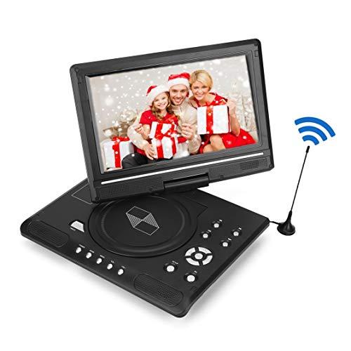 VBestlife Draagbare DVD-speler, 270 graden draaibaar scherm, ingebouwde accu, 9,8 inch, digitale game-tv-speler voor auto, ondersteunt SD-kaart en USB