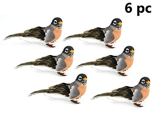Touch of Nature Feather Robin Assortment on a Clip, 6pc - Spring Decor - Home Accents - Floral Arrangements - Realistic Birds - Craft Supplies - Artificial Birds