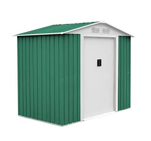 GARDIUN KIS12141 - Caseta Metálica Manchester 3.64 m² Exterior 181x201x190 cm Acero Galvanizado Verde