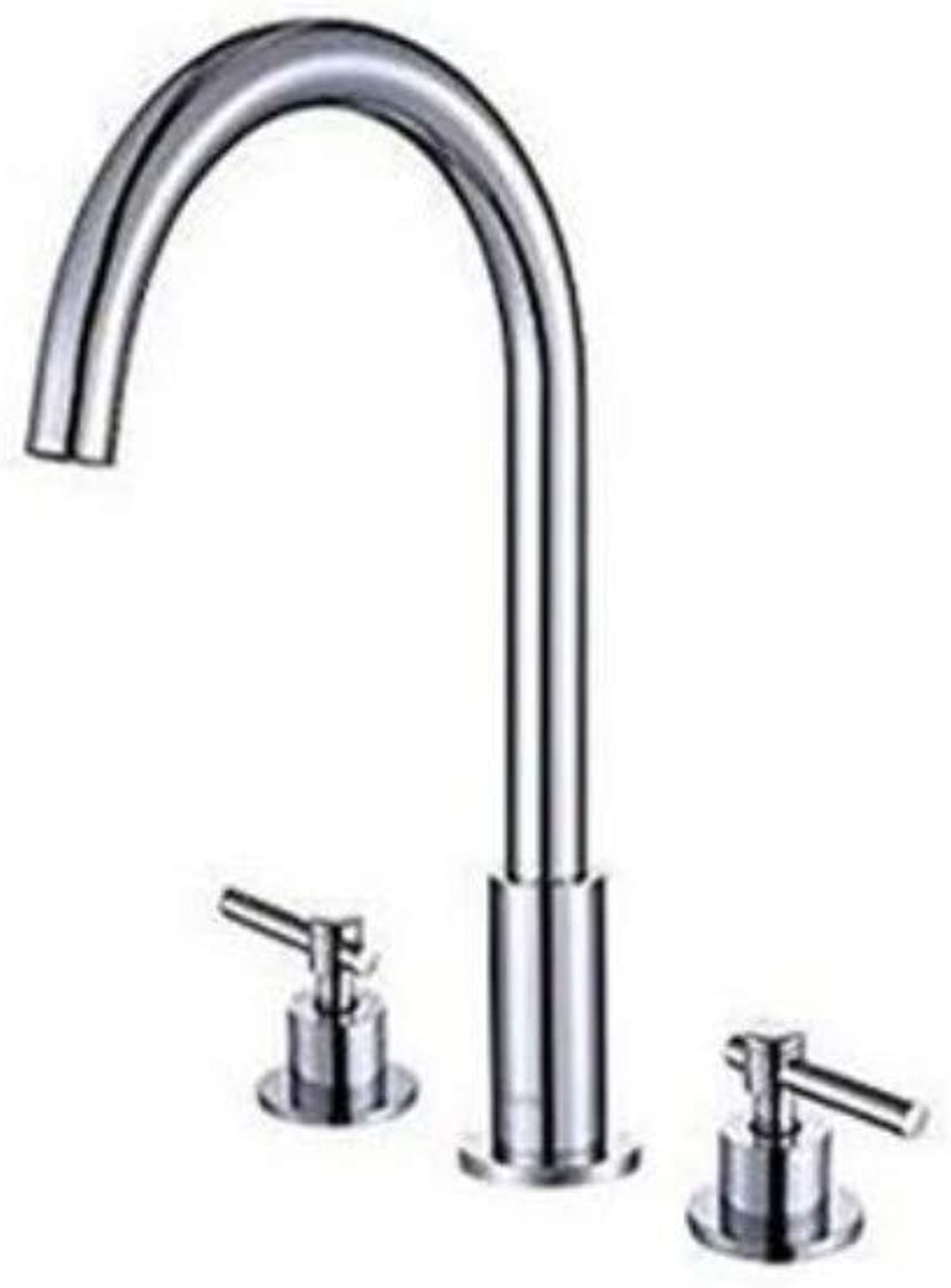 Brass Wall Faucet Chrome Brass Faucet Bathroom Split Hot and Cold Water Faucets Three Sink Faucets