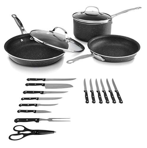 GRANITESTONE, 19 Piece Set Nonstick Cookware Set, Scratch-Resistant, Granite-coated Anodized Aluminum, Dishwasher-Safe, PFOA-Free As Seen On TV