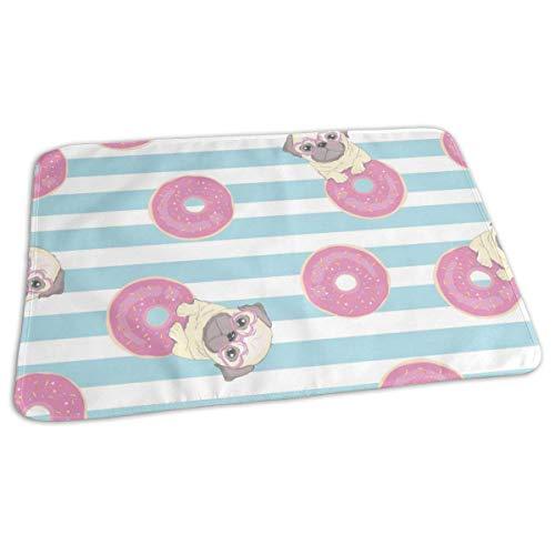 """Cambiador de viaje reutilizable, diseño de perro carlino con texto en inglés""""Love Donut"""", color rosa"""