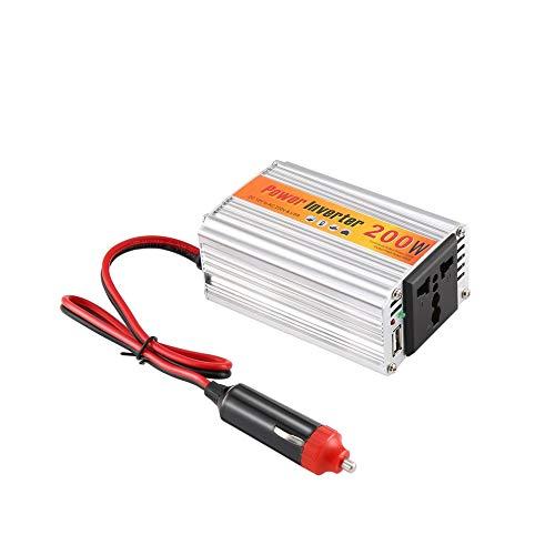 QiKun-Home Inversor automático de 200w 12v 220v con convertidor de Corriente de Coche USB 12V DC a AC 220V Adaptador Adaptador de Coche 200W Car Styling Plata