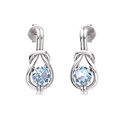 Aquamarine Gemstone Infinity Knot Solitaire Earrings in 14k White Gold