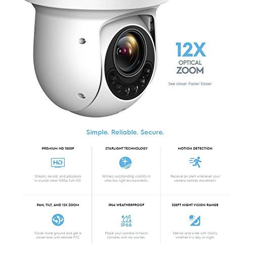Amcrest Outdoor PTZ POE Camera, Pan/Tilt/ 12x Optical Zoom 1080P POE+ (802.3at) Home Security PTZ IP Camera, Starvis Low Light Sensor, 328ft Night Vision, IP66 Waterproof, 2-Megapixel, IP2M-853EW