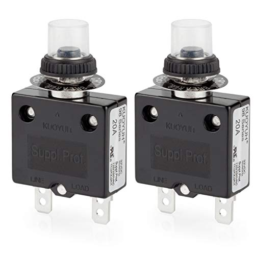 Thermal Circuit Breaker, DIYhz 20 Amp Push Button Manual Reset Circuit Breaker 32V DC 125/250VAC 50/60Hz with Quick Connect Terminals and Waterproof Button Transparent Cap 2Pcs