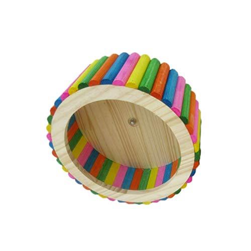 Balacoo hölzernes Hamsterrad leises laufendes Spinnerrad Hamster hölzernes Kauspielzeug Übungsrad natürliches Spielzeug für Rennmäuse Chinchillas Meerschweinchen Eichhörnchen Ratten Tiere - bunt klein