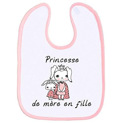 Bavoir enfant, bavette bébé, fille, maman, hérédité, rigolo, scratch au cou, cadeau de naissance, extra couvrant - Rose