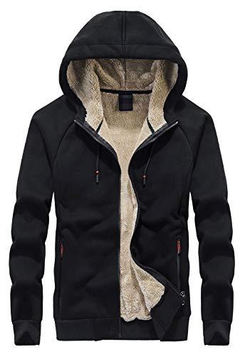 Flygo Men's Classic Sherpa Lined Hooded Sweatshirt Full Zip Up Jacket Outwear (X-Large, Black)