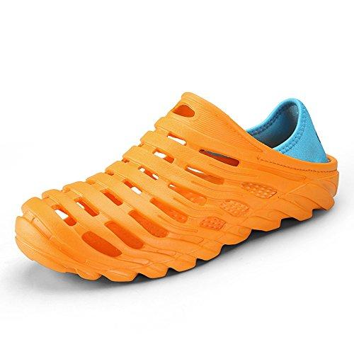 MAZHONG basses Les chaussures de trou d'été des hommes pantoufles sandales couple épais antidérapant décontracté étudiant sandales de jeunesse ( Couleur : Le jaune , taille : EU43/UK9/CN44 )