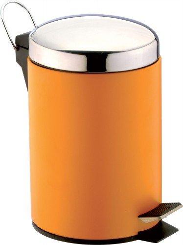 SANWOOD orange Treteimer, Bad-Abfalleimer 3 Liter mit Griff, Kosmetikeimer aus pulverbeschichtetem Stahl mit Edelstahl Deckel, Metall, 22.0 x 17.0 x 24.0 cm