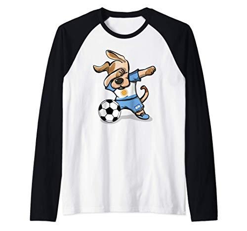 Dabbing Dog Argentina Calcio Bandiera Argentina Calcio Maglia con Maniche Raglan