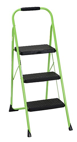 Cosco 11408GNF1E, Green Three Big Folding Step Stool with Rubber Hand Grip