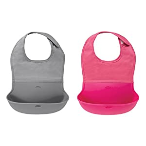 OXO Tot Roll- Up Bib 2-Pack Gray/Pink