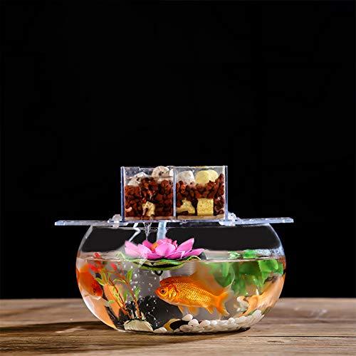 JNDM Tanque de Peces pequeños Espesada Transparente de Cristal de la Tortuga del Tanque de la Sala Principal de Escritorio Ronda Mini pequeño Gold Fish Tank Oficina Claro C-35CM
