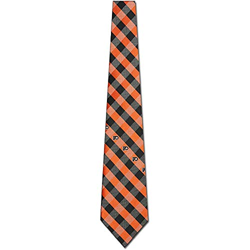 Herren Krawatte Krawatte,Philadelphia Flyer Check Polyester Krawatte Nhl Hockey Team Logo,Neck Tie,Long 145Cm