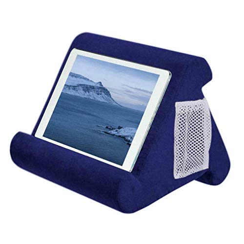 Sebastianee Multi-Angle Laptop Computer Stands Soft Pillow Stand With Side Pocket Tablet Phone Holder Reading Bracket For Ipad Phone,Navy blue