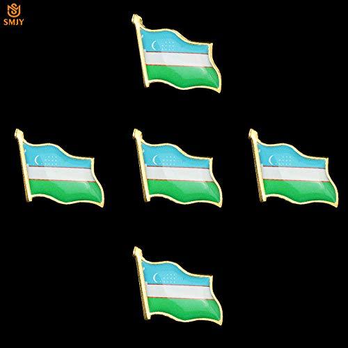 SFDGBTH 5 Piezas Bandera de Asia Central Pin esmaltado Uzbekistán Raro Personalizado Bandera Nacional Pin Insignia Collar Hebilla de Seguridad Pin Broche Insignia joyería