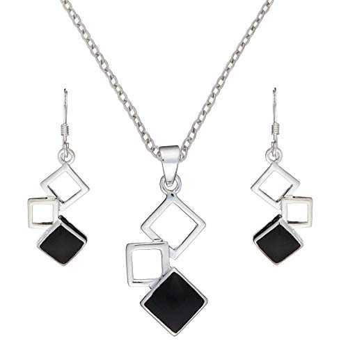 Silverly Women's .925 Sterling Silver Simulated Onyx Linked Square Earrings Necklace Jewellery Set, 18'