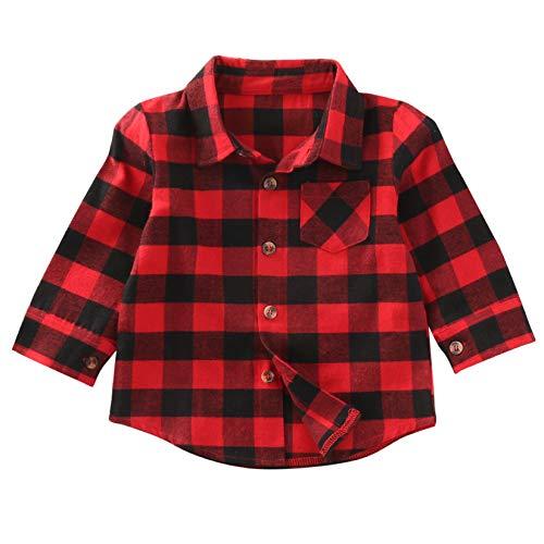 Loalirando Kleinkinder Baby Mädchen Kariert Hemd Langarmshirt Baumwolle Karohemd Herbst Winter (C-Rot, 2-3 Jahre)